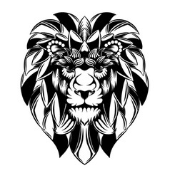 lion head with big mane as flowers vector image