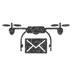 Mail Delivery Drone Grainy Texture Icon vector image