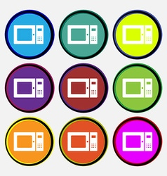 microwave icon sign Nine multi colored round vector image