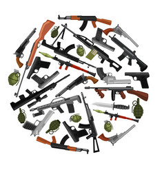 Military gun set automatic and hand weapon vector