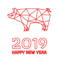polygonal pig design for chinese new year vector image