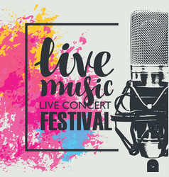 Poster for a live music festival with a microphone vector