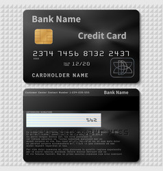 Realistic black bank plastic credit card with chip vector