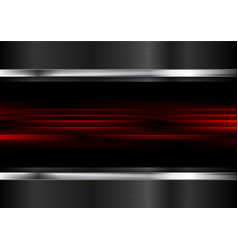 red glowing stripes and metallic background vector image