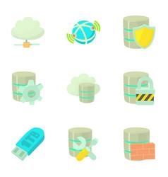 safe storage icons set cartoon style vector image