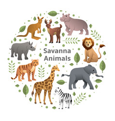 savanna animals set vector image