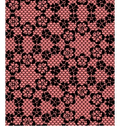 Seamless black lace pattern on red background vector