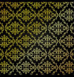 seamless golden damask pattern background vector image