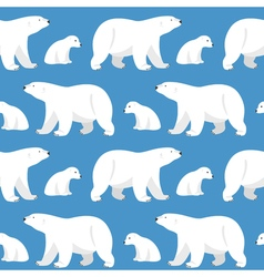Seamless pattern with two polar bears she-bear and vector
