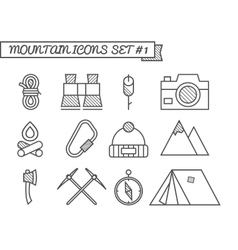 set camping travel icons thin line style vector image