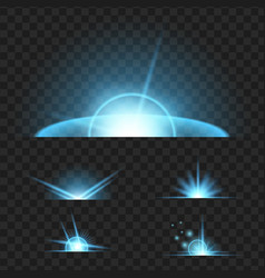 set glowing light effect isolated on black vector image