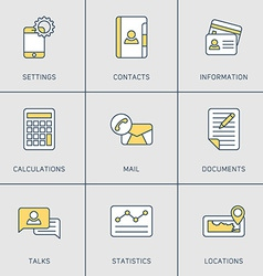 Set of Modern Thin Line Icons Settings Contacts vector image