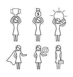 set women teamwork with office analysis vector image