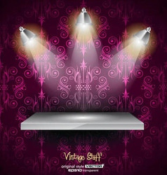 Shelf with 3 LED spotlights vector image
