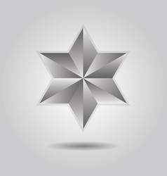 silver abstract 3d six pointed star icon on gray vector image