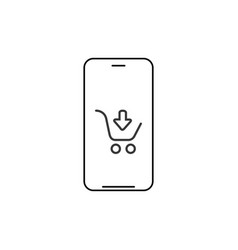 smartphone shopping app linear icon thin line vector image