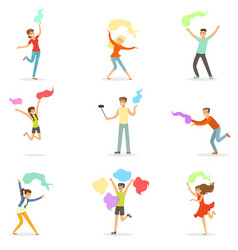 Smiling people dancing with shawl set for label vector