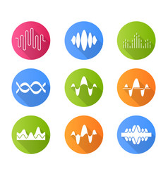 Sound and audio waves flat design long shadow vector