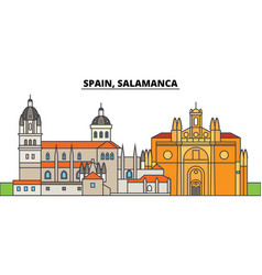 spain salamanca city skyline architecture vector image