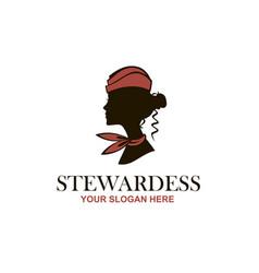 Stewardess with neckerchief vector