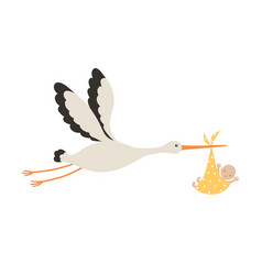 stork and baby isolated vector image