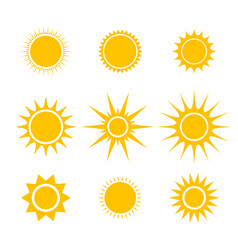 sun or star cartoon icons emoji emoticons vector image