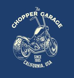 T-shirt design chopper motorcycle garage vector