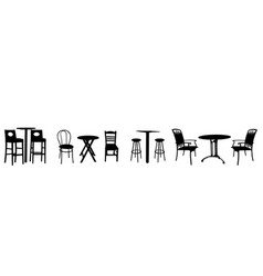 Tables and chairs silhouette vector