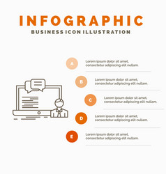 Training course online computer chat infographics vector