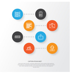 travel icons set collection of credit card vector image
