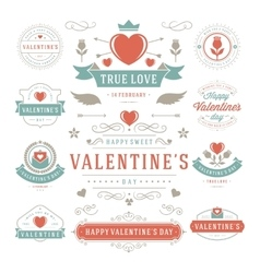 Valentines Day Labels and Cards Set Heart Icons vector