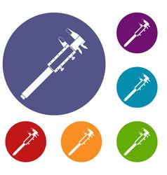 Vernier caliper icons set vector