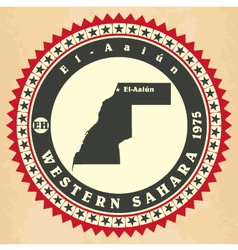 Vintage label-sticker cards of Western Sahara vector image