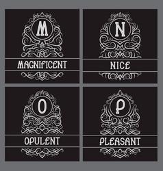 vintage monograms set for label design m n o p vector image