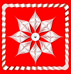 volume white snowflake from paper on a red vector image