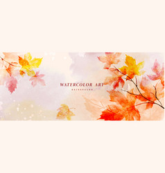 Watercolor autumn abstract background with maple vector