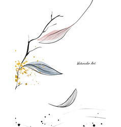watercolor natural art with fall gentle leaves vector image