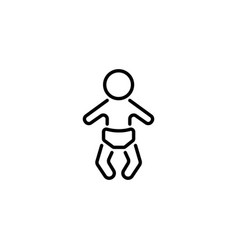 web line icon baby in a diaper vector image