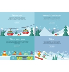 Winter Tour Mountain Landscape Sport Gear Skiing vector image