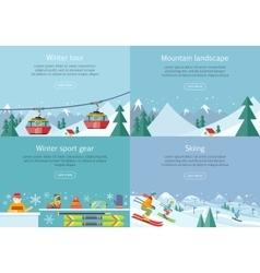 Winter Tour Mountain Landscape Sport Gear Skiing vector