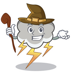 witch thunder cloud character cartoon vector image