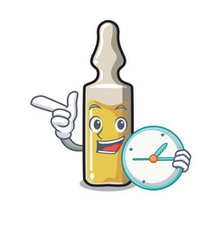 With clock ampoule character cartoon style vector