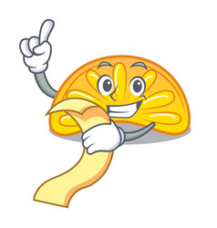 With menu orange jelly candy mascot cartoon vector