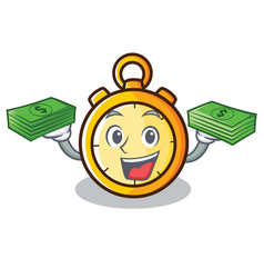 With money chronometer character cartoon style vector