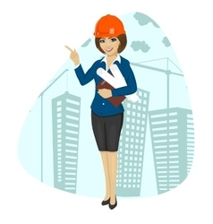 Woman construction worker wearing hard hat vector