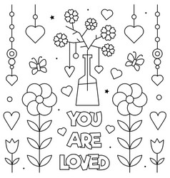 You are loved coloring page vector