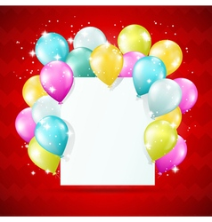 blank white card with balloons vector image vector image