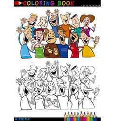 Happy People group for coloring vector image