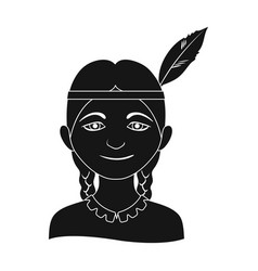 indianhuman race single icon in black style vector image vector image