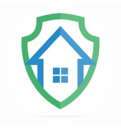 Logo combination of shield and house vector image